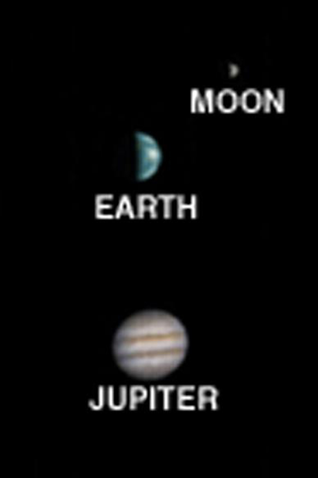 Taken on May 22, 2003, this image from NASA's Mars Global Surveyor is the first image of Earth ever taken from another planet that actually shows our home as a planetary disk when Jupiter, Earth, and the Moon aligned.