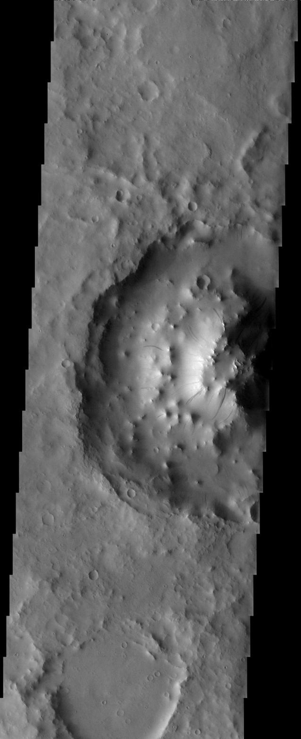 This image taken by NASA's 2001 Mars Odyssey shows the height of the interior mound of sediment inside this unnamed crater on Mars.