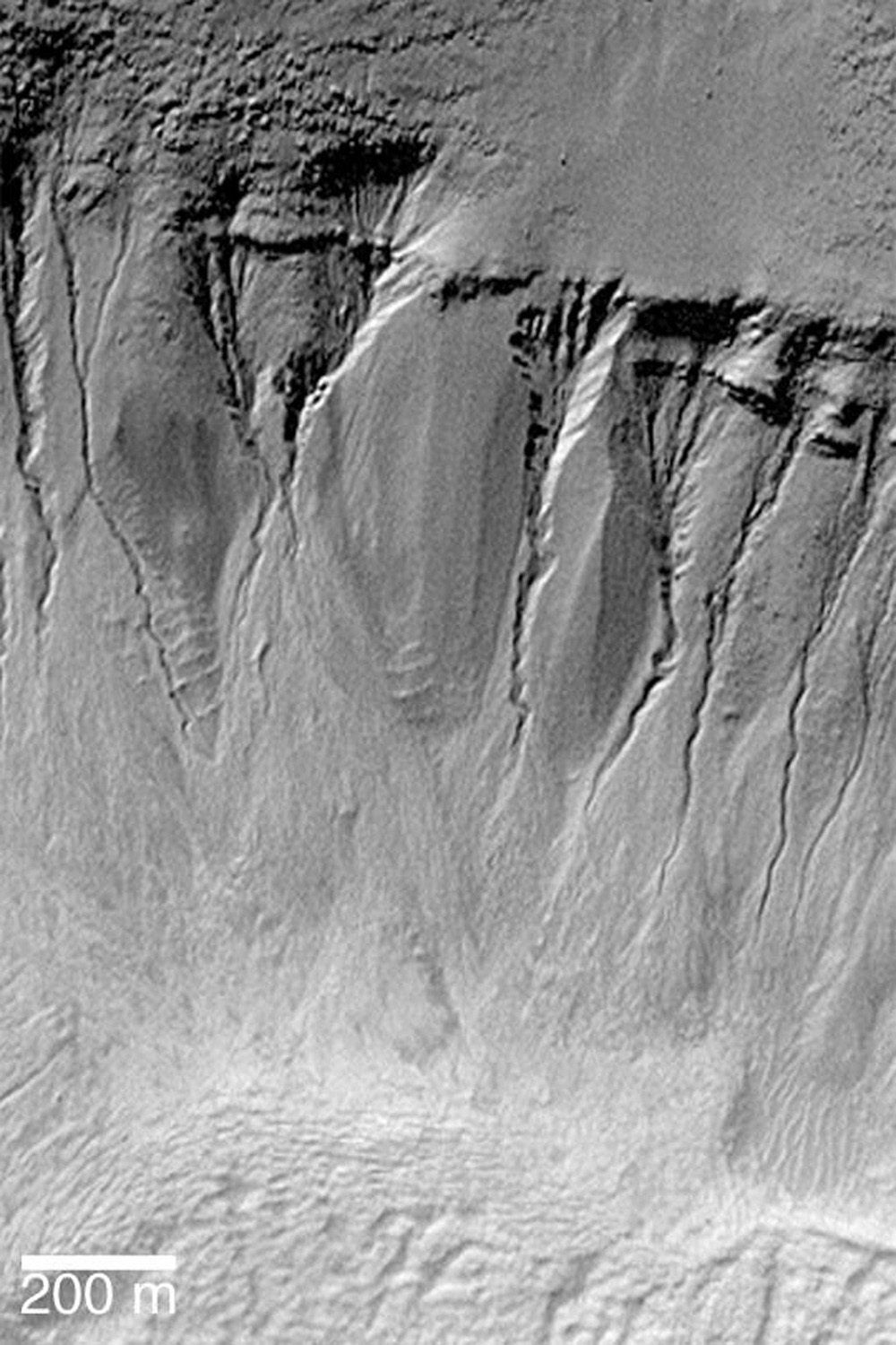 NASA's Mars Global Surveyor shows craters and troughs at polar and middle latitudes on Mars with gullies carved in their walls.