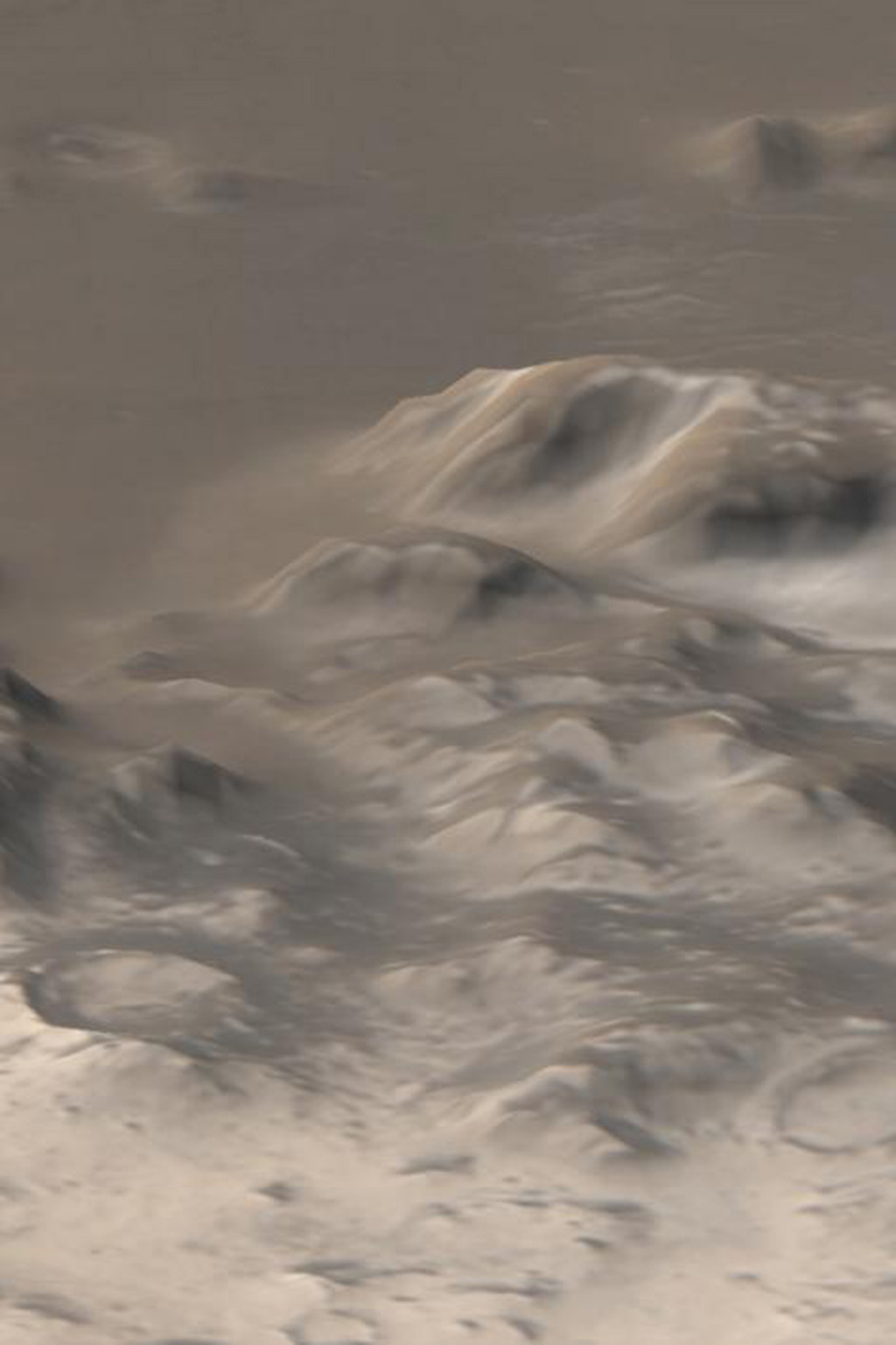 NASA's Mars Global Surveyor shows an early southern spring view of the frost-covered Charitum Montes, south of Argyre Planitia on Mars.