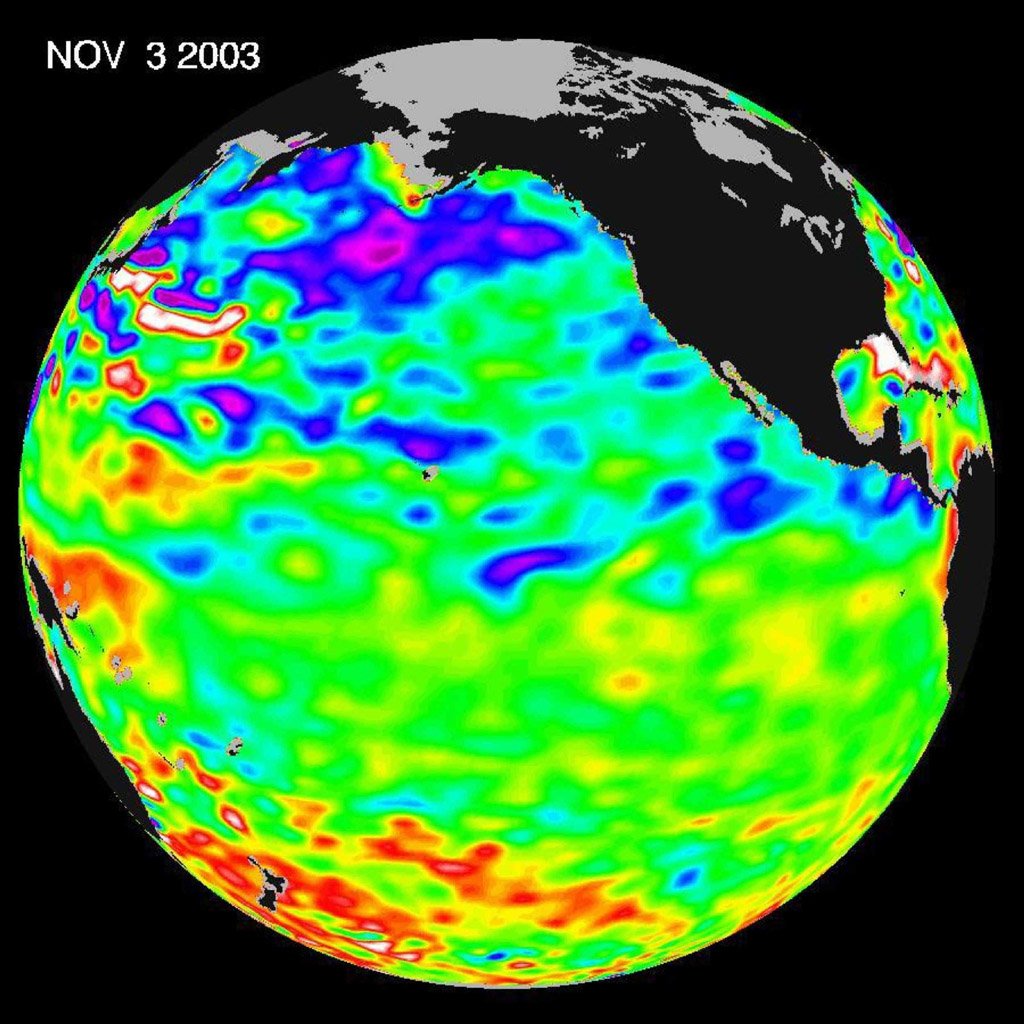 This image from NASA's Jason-1 is a global map of sea surface height of the equatorial Pacific Ocean. The image represents data collected and composited over a 10-day period, ending on Nov. 3, 2003.