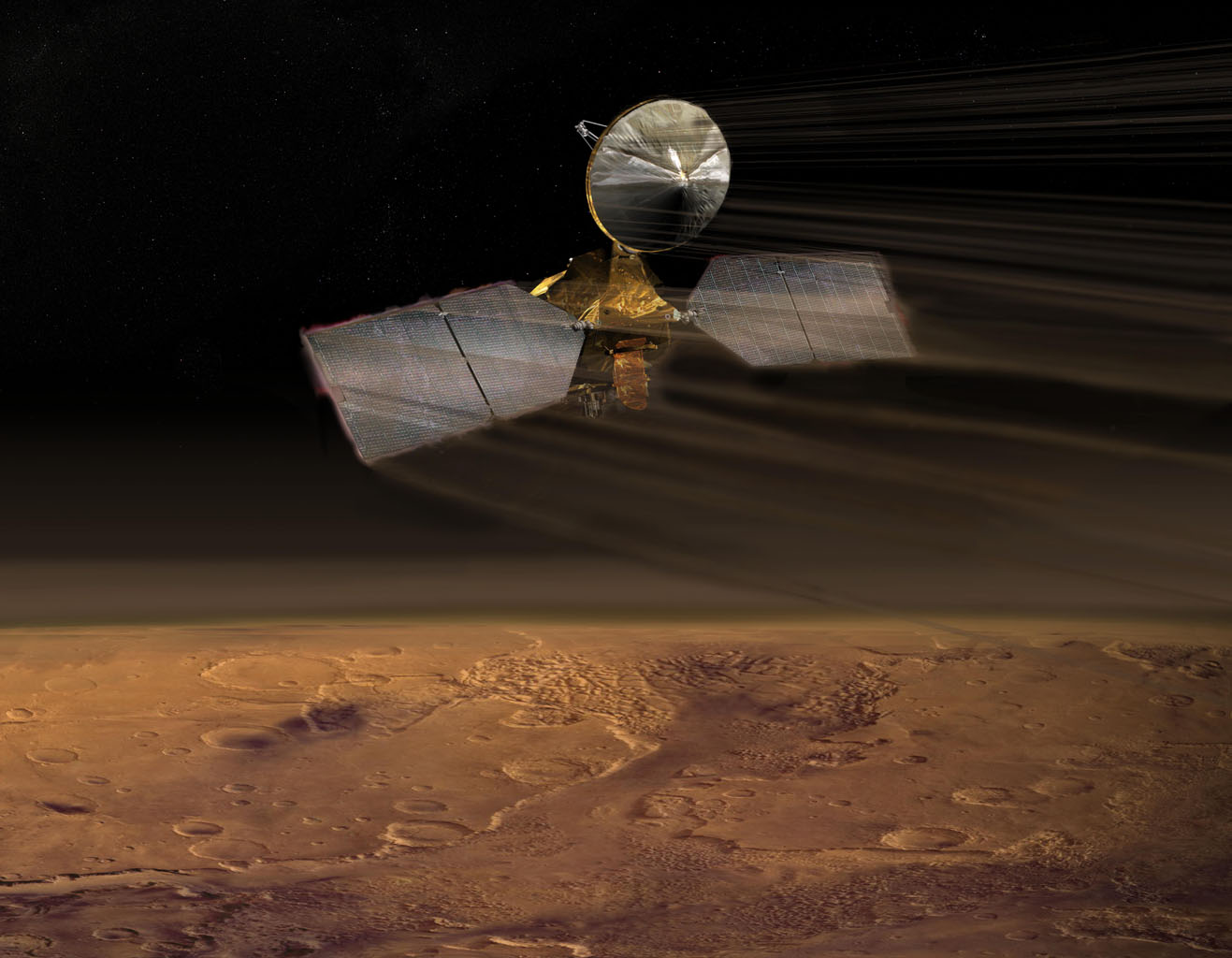 NASA's Mars Reconnaissance Orbiter dips into the thin martian atmosphere to adjust its orbit in this artist's concept illustration.