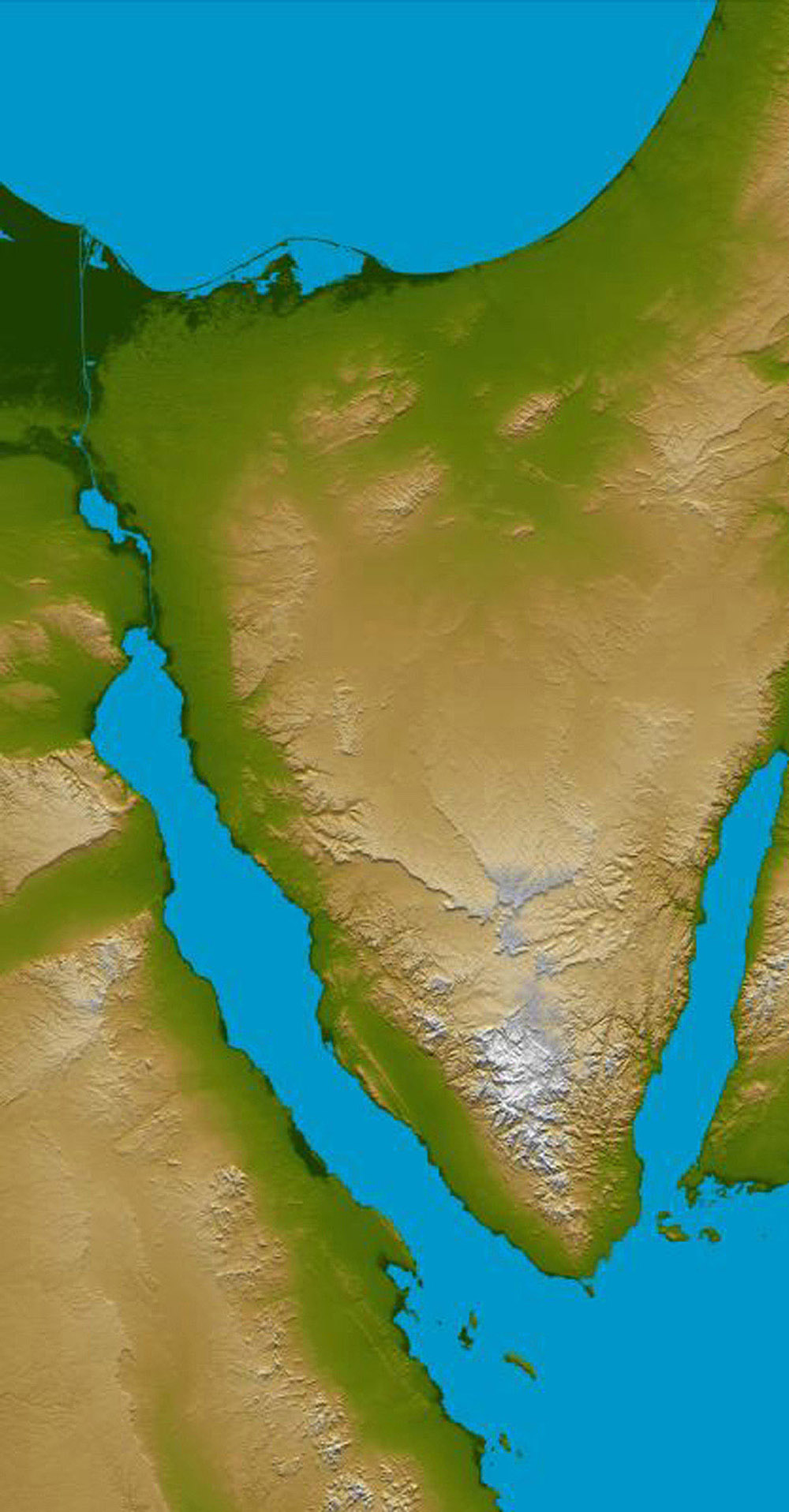 Space Images | Sinai Peninsula, Shaded Relief and Colored Height