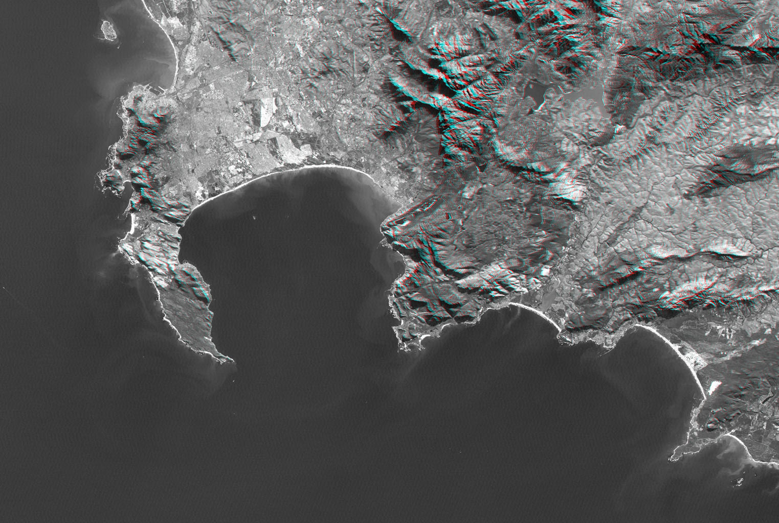 Cape Town and the Cape of Good Hope, South Africa, appear on the left (west) of this anaglyph from NASA's Shuttle Radar Topography Mission. 3D glasses are necessary to view this image.