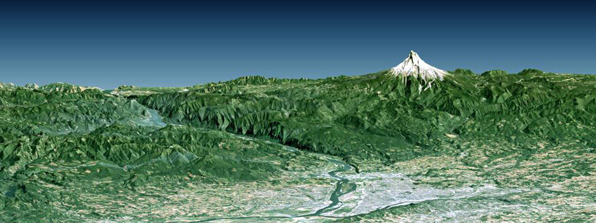 Portland, the largest city in Oregon, is located on the Columbia River at the northern end of the Willamette Valley. Mount Hood highlights the Cascade Mountains backdrop to the east in this image from NASA's Shuttle Radar Topography Mission.