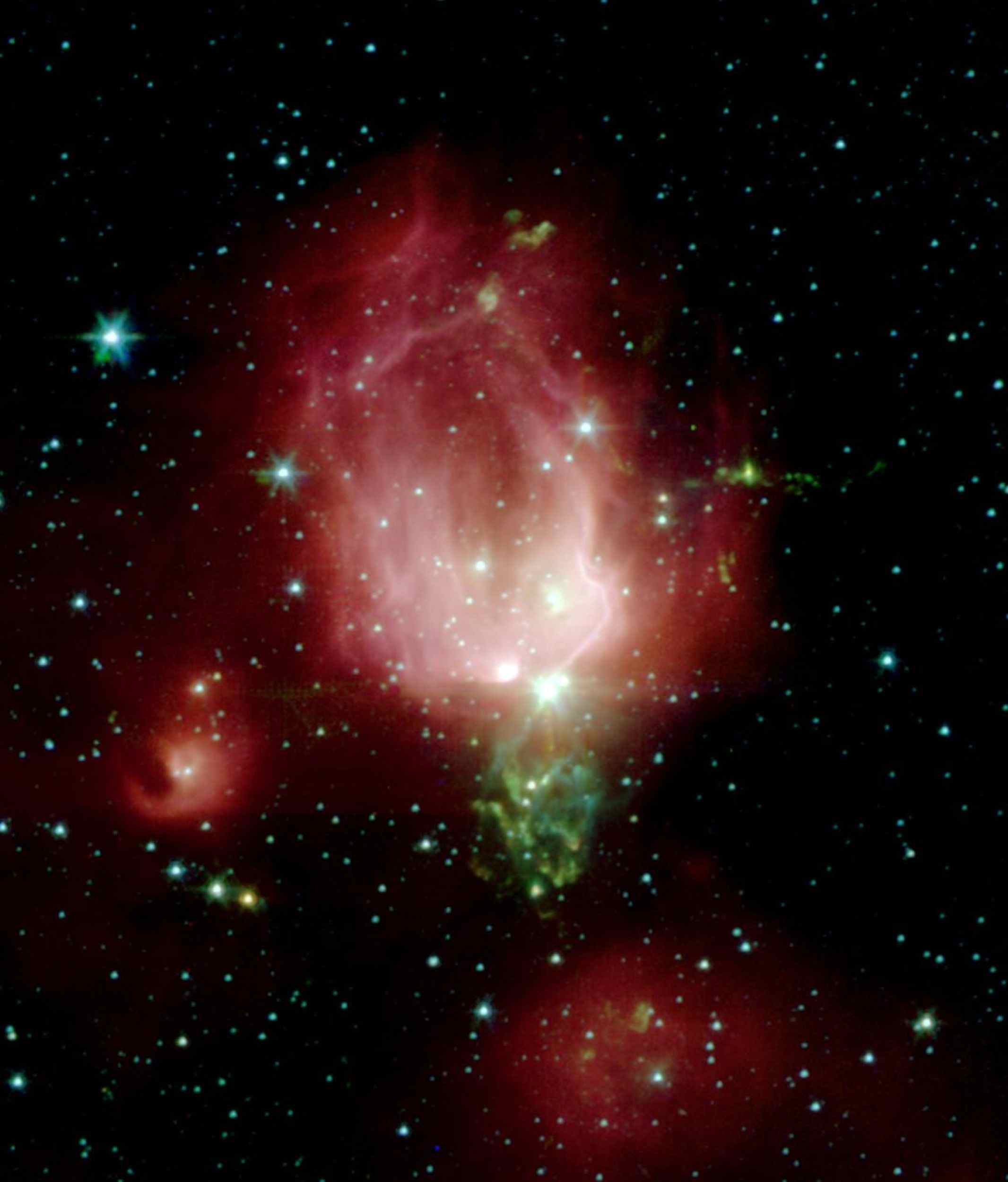 A cluster of newborn stars herald their birth in this interstellar Valentine's Day commemorative picture obtained with NASA's Spitzer Space Telescope. These bright young stars are found in a rosebud-shaped (and rose-colored) nebulosity known as NGC 7129.