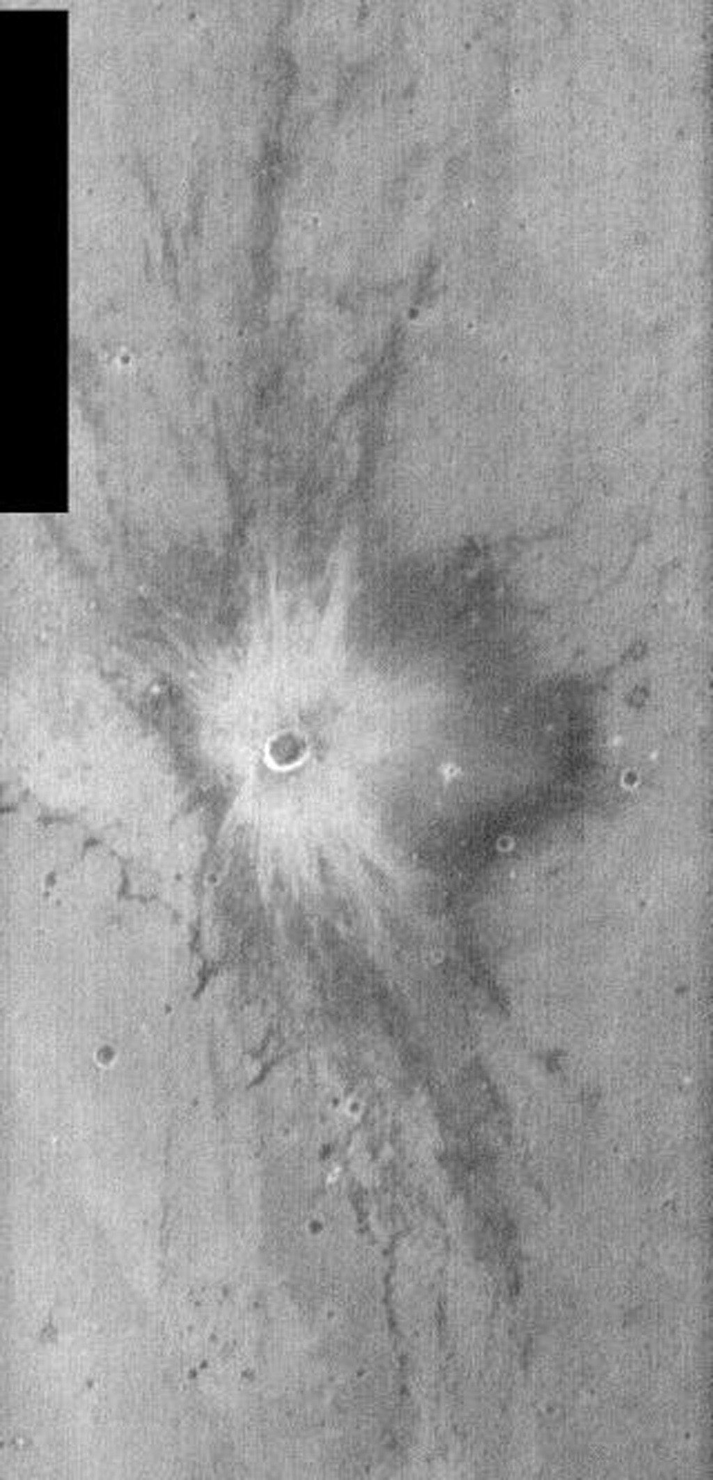This image, part of an images as art series from NASA's 2001 Mars Odyssey released on Feb 6, 2004 shows crater ejecta looks quite a bit like a blast, as would be seen in comic books or perhaps on an old episode of Batman.