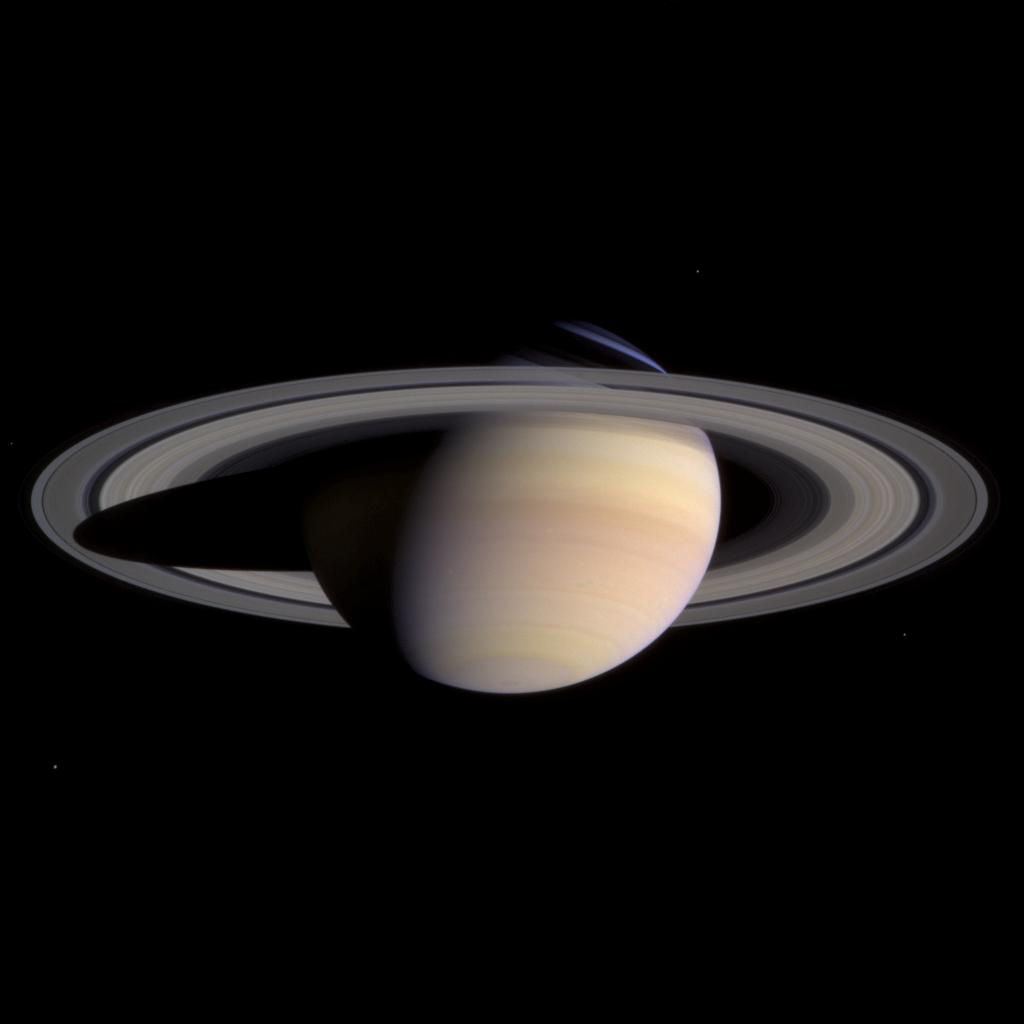 Saturn and its rings completely fill the field of view of NASA's Cassini's narrow angle camera in this natural color image taken on March 27, 2004. This is the last single 'eyeful' of Saturn and its rings.