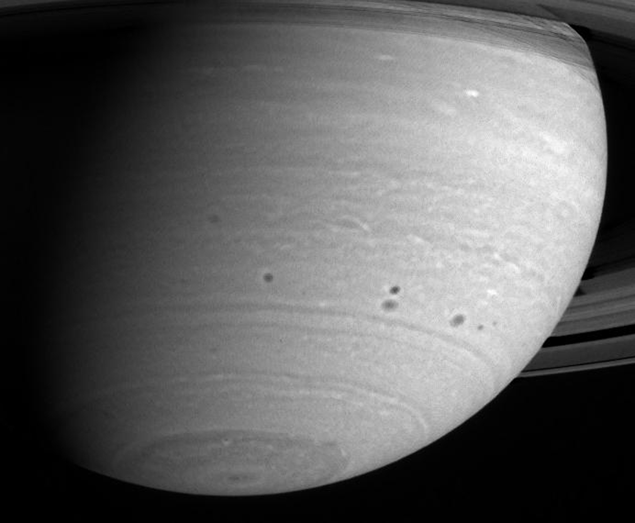 Cassini continues its vigil as Saturn's atmosphere churns and morphs through time. This image from NASA's Cassini spacecraft's was taken on May 15, 2004, from a distance of 24.7 million kilometers (15.3 million miles) from Saturn.