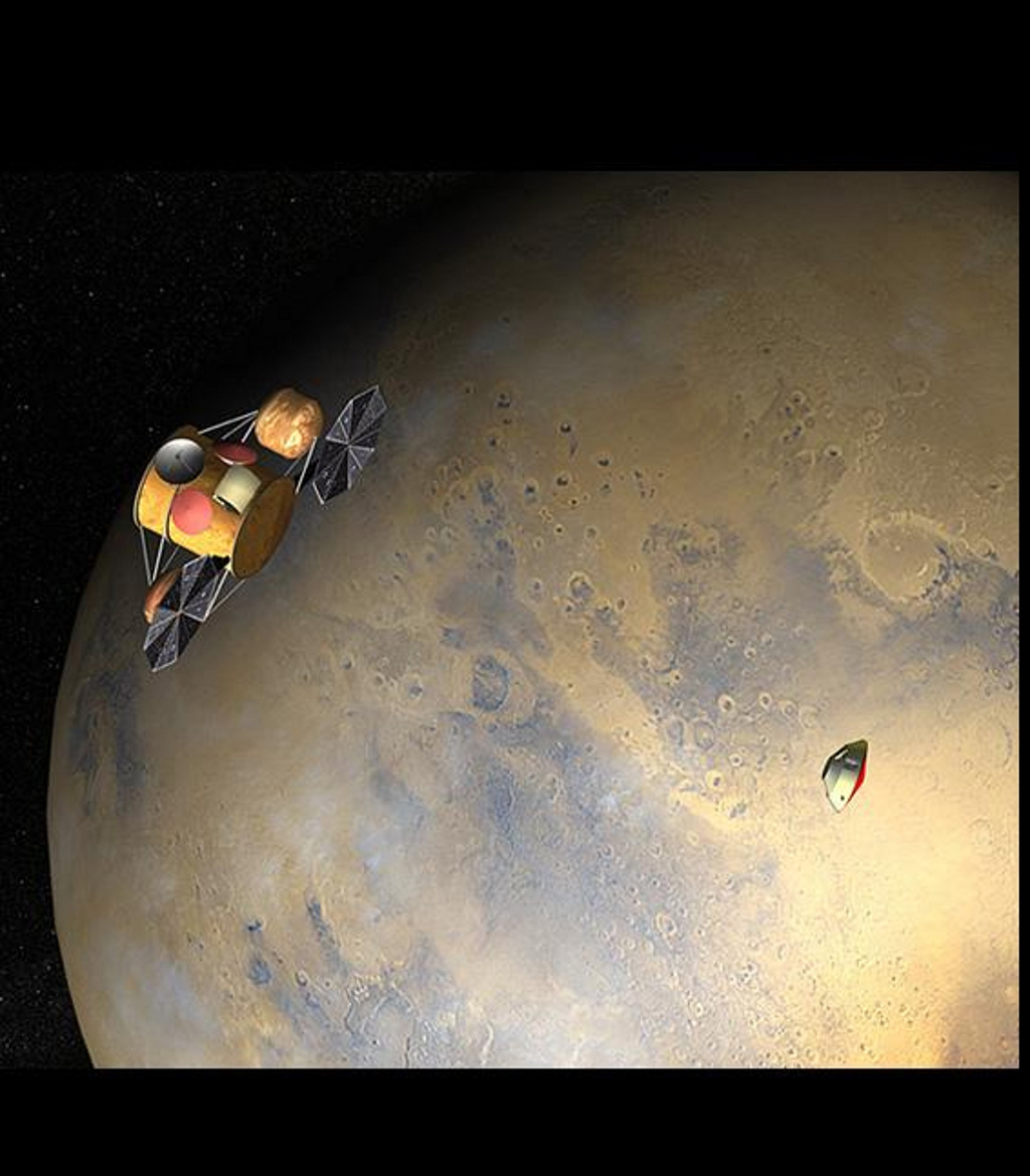 This artist's concept of the proposed NASA Mars Sample Return mission shows the orbiter and lander, just after the orbiter would release the lander to descend through the martian atmosphere.