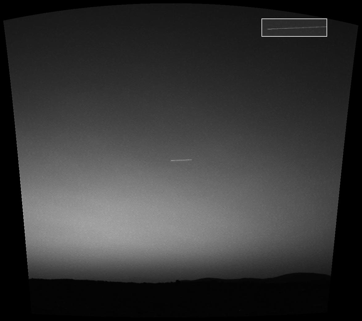 Observing the sky with the green filter of it panoramic camera, NASA's Mars Exploration Rover Spirit came across a surprise: a streak across the sky, probably the brightest object in the sky at the time.