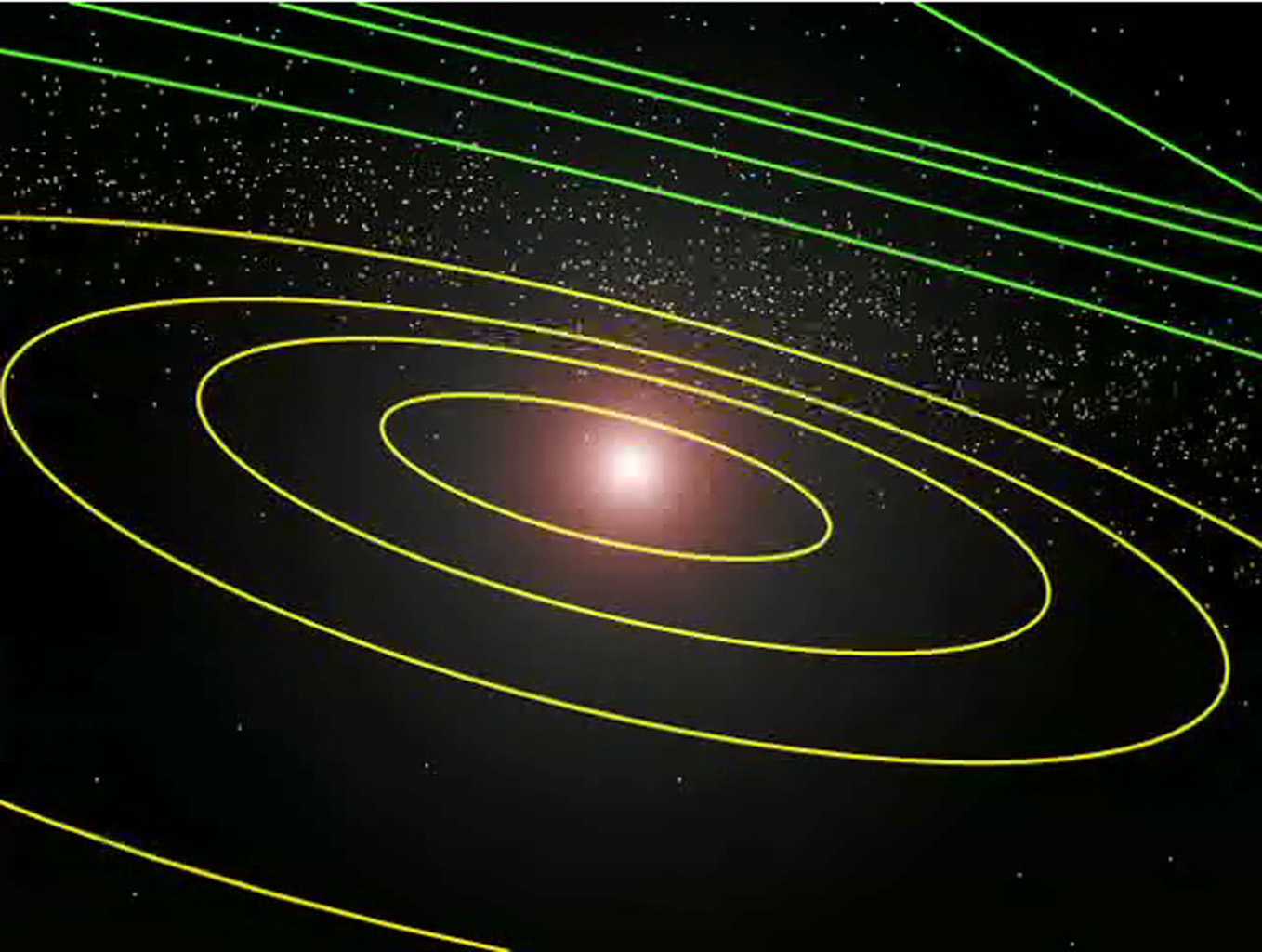 This image shows the location of the newly discovered planet-like object, dubbed 'Sedna,' in relation to the rest of the solar system in 2004.