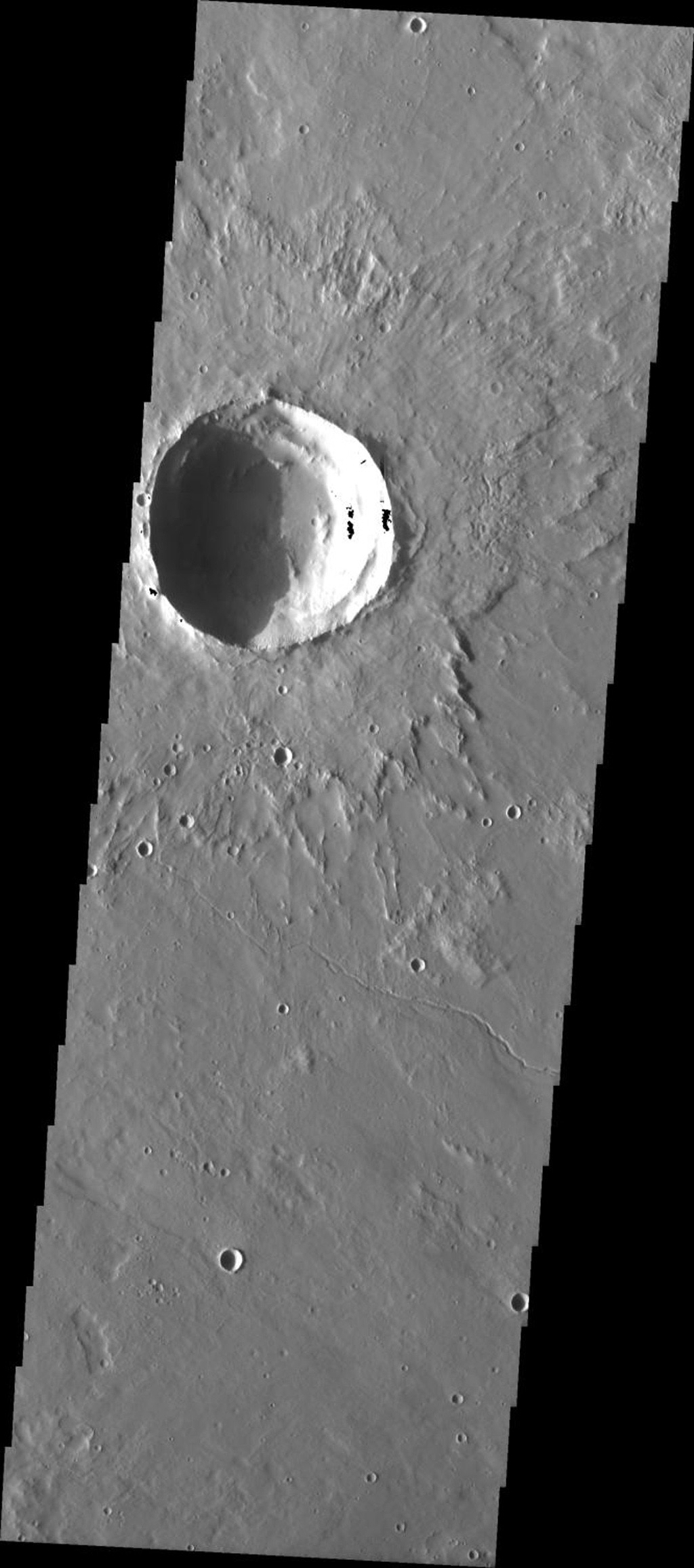 This image from NASA's 2001 Mars Odyssey released on April 27, 2004 shows lava flows on the martian surface at Elysium Mons.