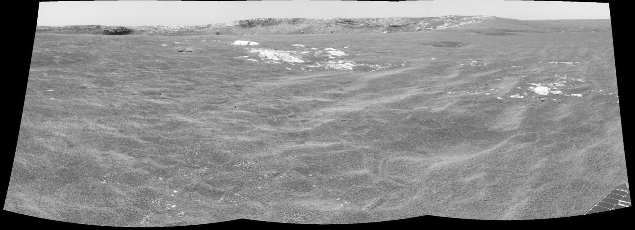 This image from NASA's Mars Rover Opportunity shows the rover's view of Meridiani Planum as it headed to Endurance Crater on Mars.