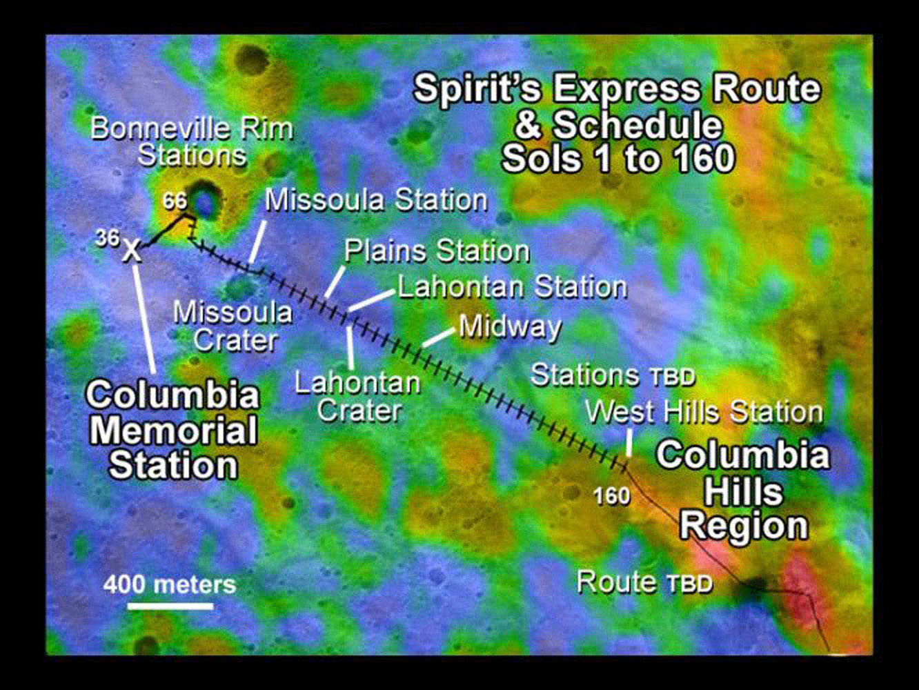 This map illustrates NASA's Mars Exploration Rover Spirit's position as of April 26, 2004, near the crater called 'Missoula' on Mars.