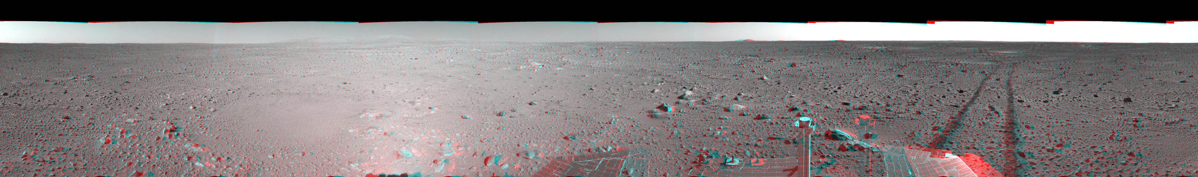This 3-D cylindrical-perspective mosaic was created from navigation camera images that NASA's Mars Exploration Rover Spirit captured on on sol 123. 3D glasses are necessary to view this image.