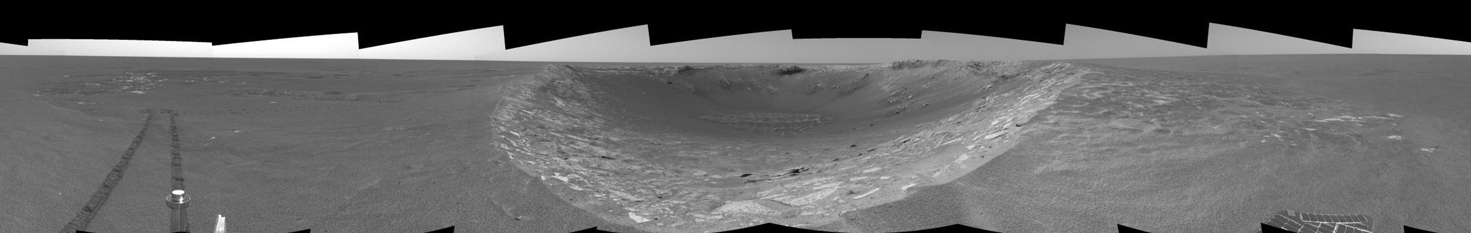 This image shows NASA's Mars Exploration Rover Opportunity along the eastern rim of 'Endurance Crater' before reaching the beginning of the 'Karatepe' area on Mars.