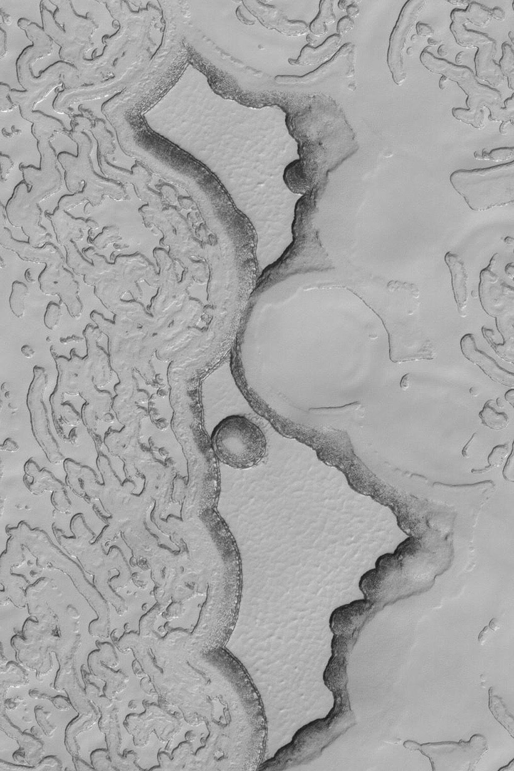 NASA's Mars Global Surveyor shows two large and many small mesas composed of frozen carbon dioxide on the south polar cap of Mars.