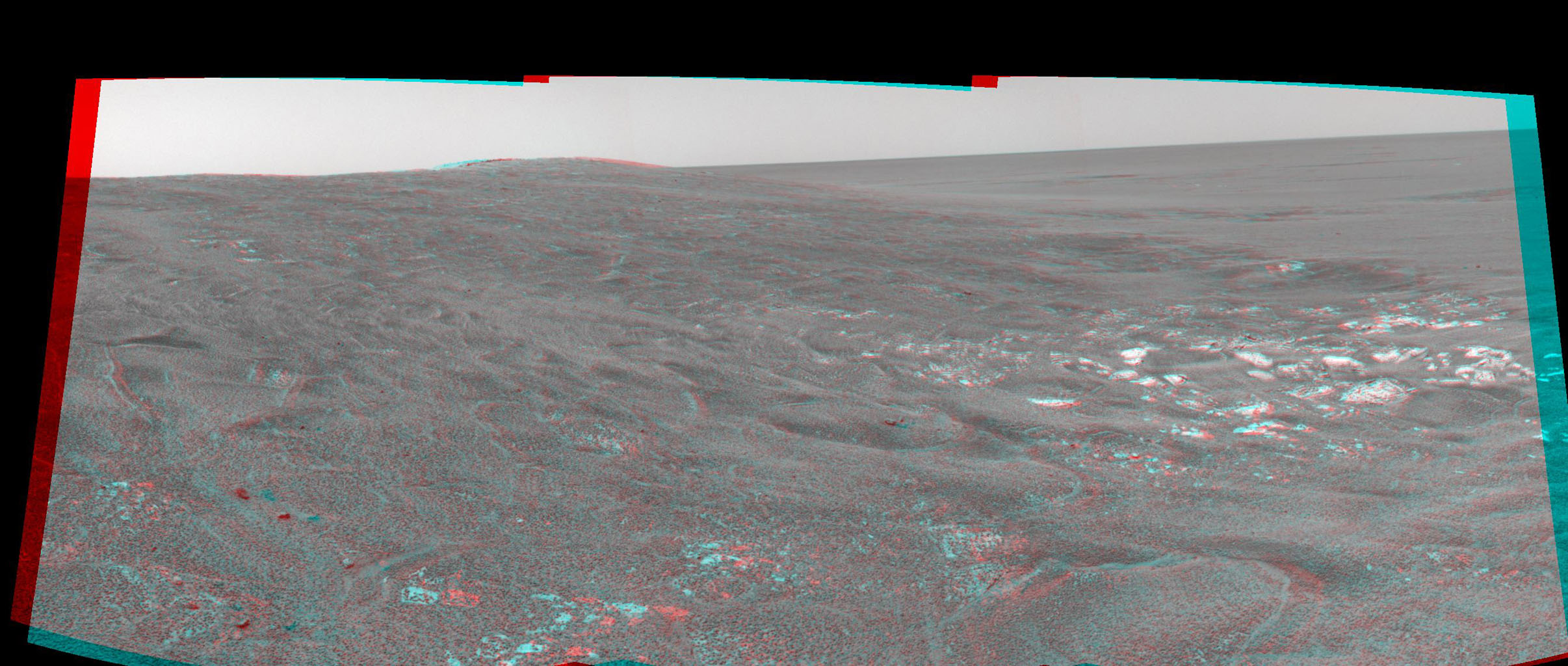 This 3-D cylindrical-perspective mosaic was created from navigation camera images that NASA's Mars Exploration Rover Spirit captured on on sol 109. 3D glasses are necessary to view this image.