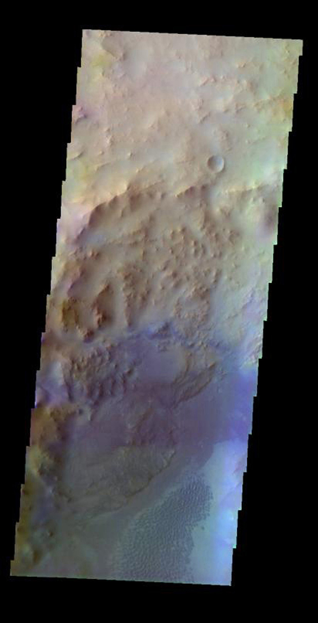 This false-color image released on May 17, 2004 from NASA's 2001 Mars Odyssey of a crater near Nili Fossae on Mars was acquired July 31, 2002, during northern spring.