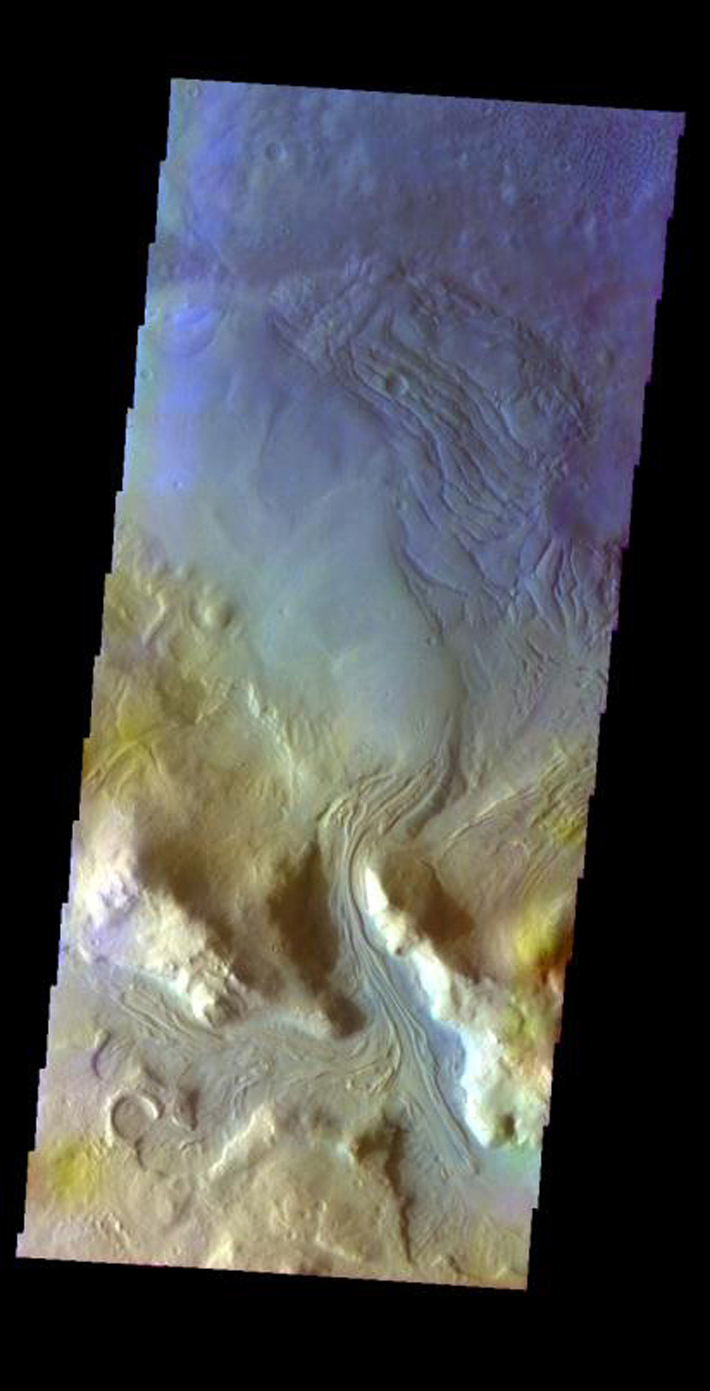 This false-color image released on May 27, 2004 from NASA's 2001 Mars Odyssey of material entering Moreux Crater from the rim area on Mars was acquired March 17, 2003, during northern summer.