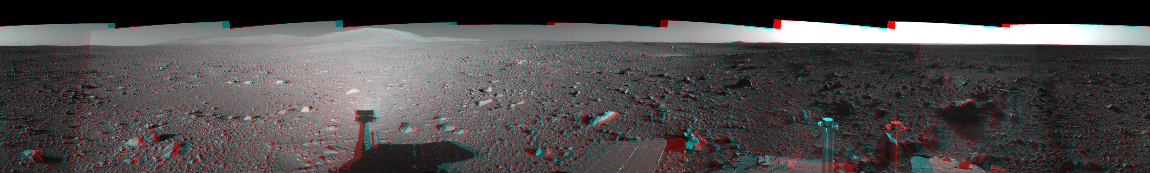 This 360-degree three dimensional anaglyph view from NASA's Mars Exploration Rover Spirit highlights Gusev crater on sol 147. 3D glasses are necessary to view this image.