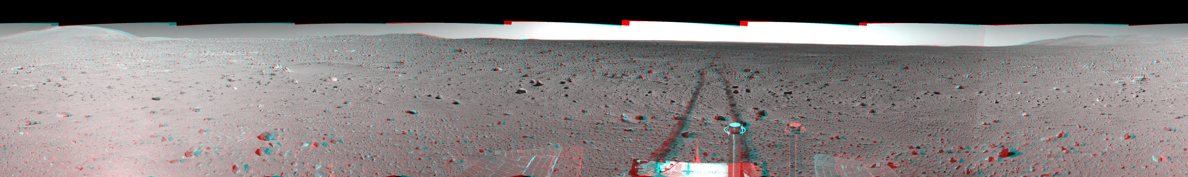 This 3-D cylindrical-perspective mosaic was created from navigation camera images that NASA's Mars Exploration Rover Spirit captured on on sol 151. 3D glasses are necessary to view this image.