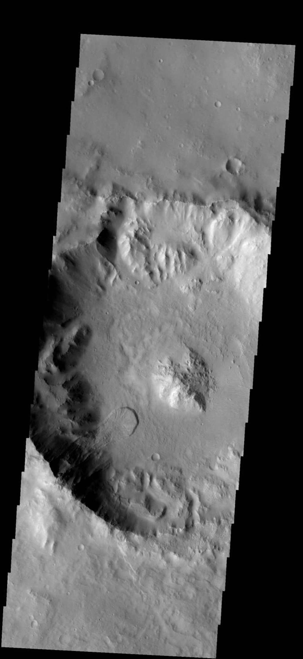 This landslide occurs in an unnamed crater on Mars southeast of Millochau Crater as seen by NASA's 2001 Mars Odyssey spacecraft.