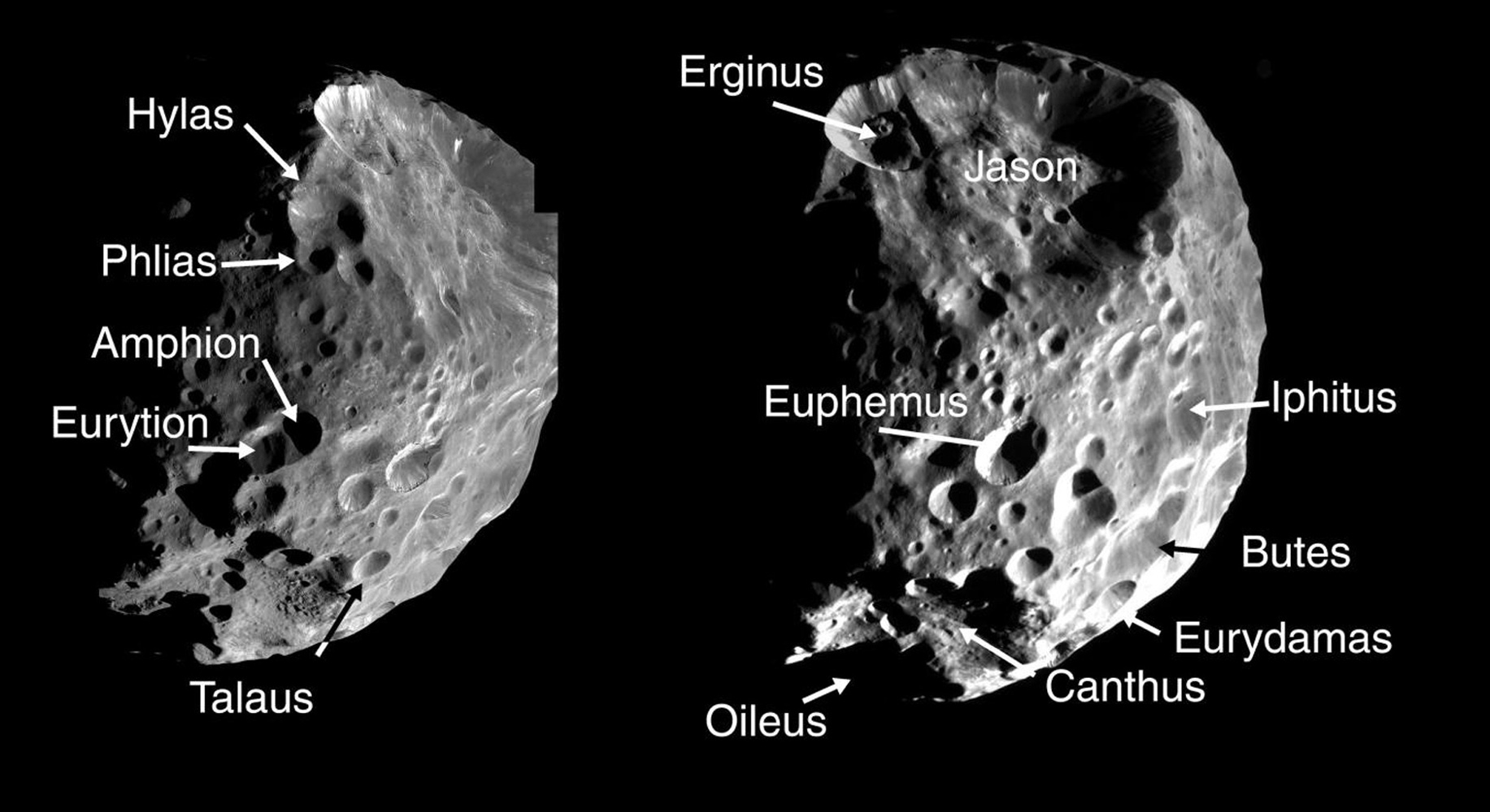 These two montages of images of Saturn's moon Phoebe, taken by NASA's Cassini spacecraft in June 2004, show the names provisionally assigned to 24 craters on this Saturnian satellite by the International Astronomical Union.