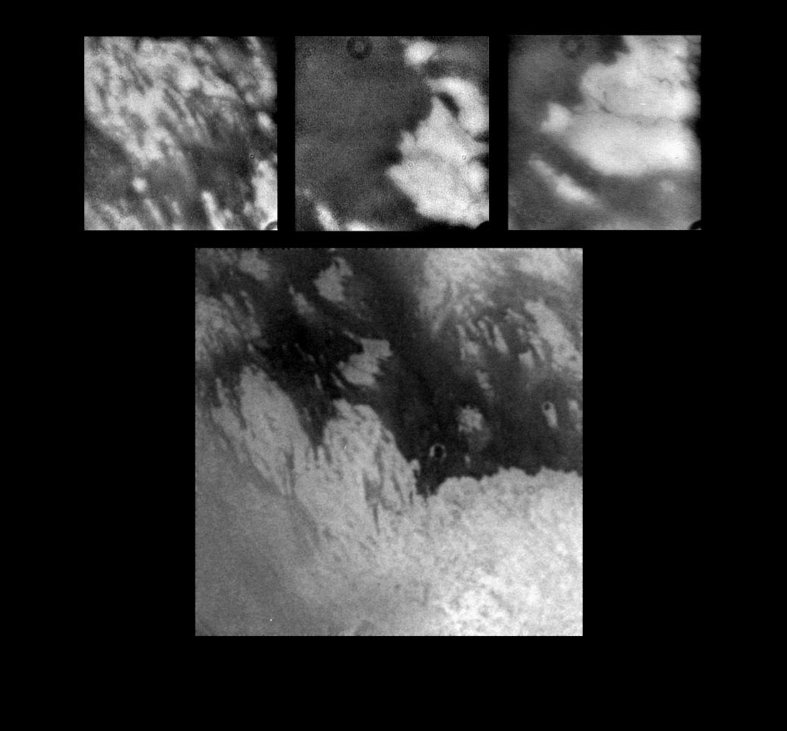 These images, taken during NASA's Cassini spacecraft first close flyby of Titan, show details never before seen on Titan's mysterious surface.