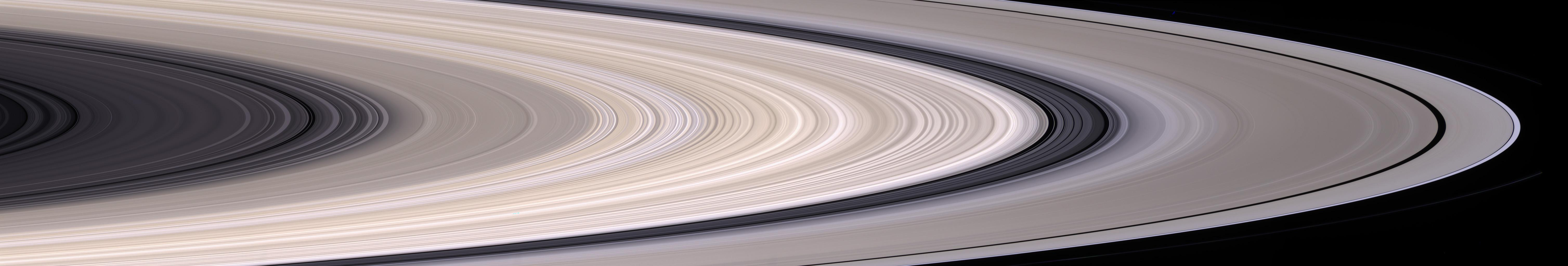 Saturn's most prominent feature, its dazzling ring system, takes center stage in this stunning natural color mosaic which reveals the color and diversity present in this wonder of the solar system.