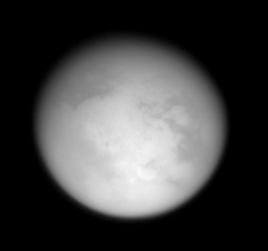 This image was taken during NASA's Cassini spacecraft third close approach to Titan on Feb. 15, 2005.