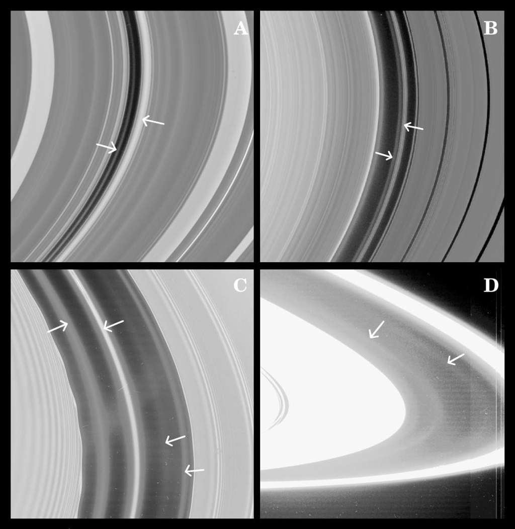 Images from NASA's Cassini spacecraft have revealed the presence of previously unseen faint rings in some of the gaps in Saturn's rings--possible indicators of small yet-unseen moons.