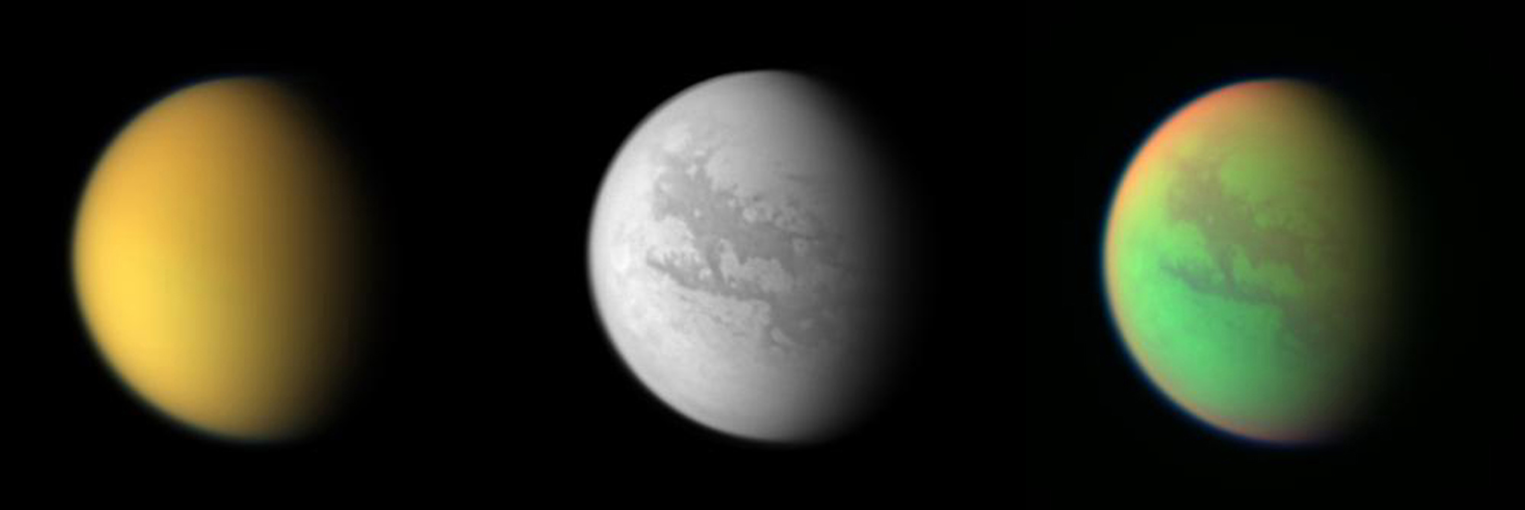 These three views of Titan from NASA's Cassini spacecraft illustrate how different the same place can look in different wavelengths of light.