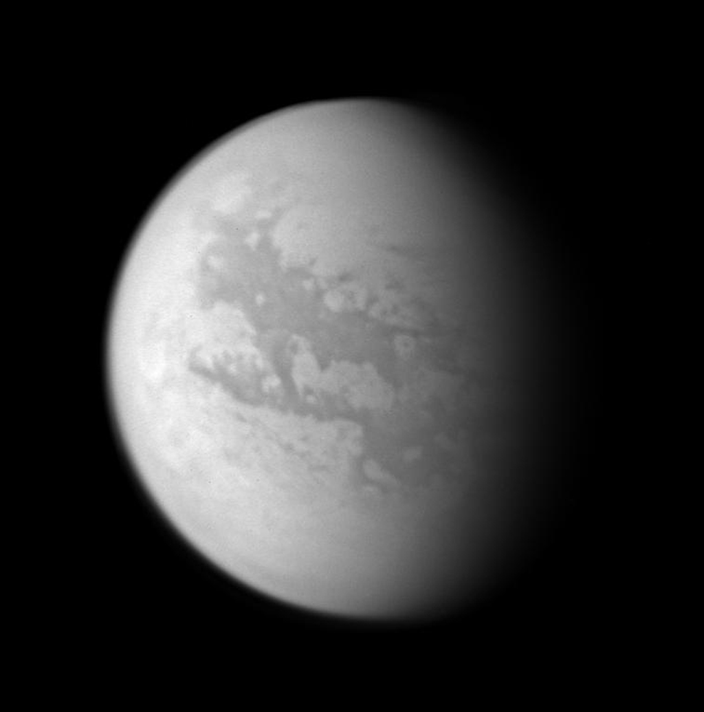 This image composite was created with images taken during NASA's Cassini spacecraft's closest flyby of Titan on April 16, 2005.