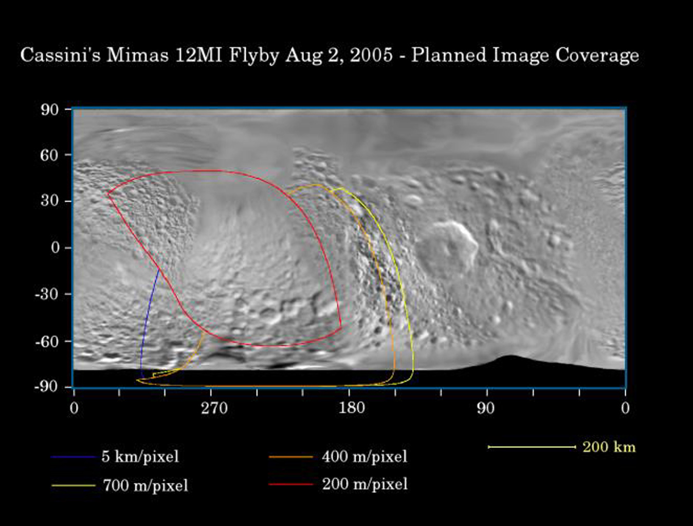 This map of the surface of Saturn's moon Mimas illustrates the regions that were imaged by NASA's Cassini spacecraft during the spacecraft's flyby of the moon on Aug. 2, 2005.