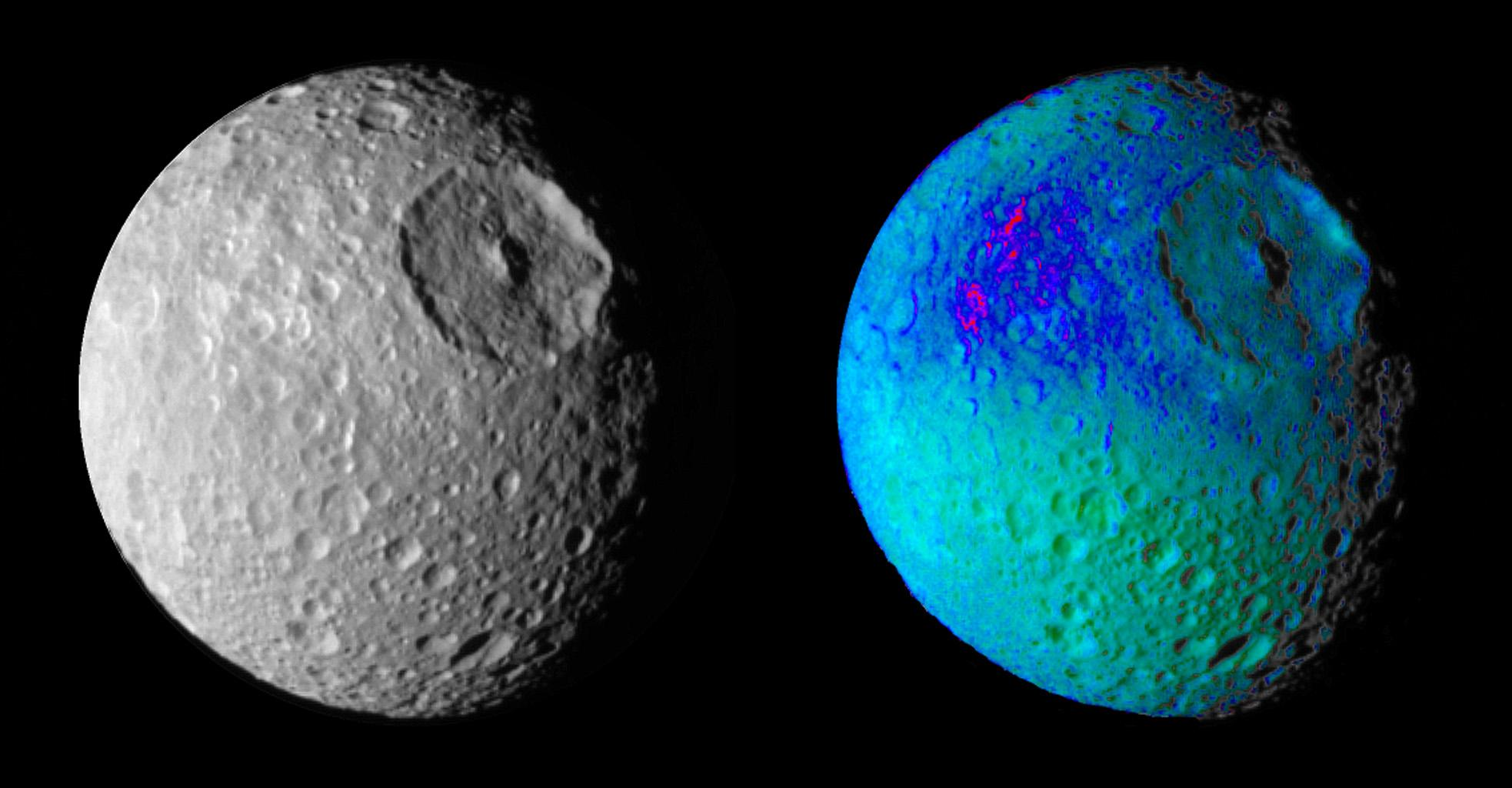 False color images of Saturn's moon, Mimas, reveal variation in either the composition or texture across its surface.