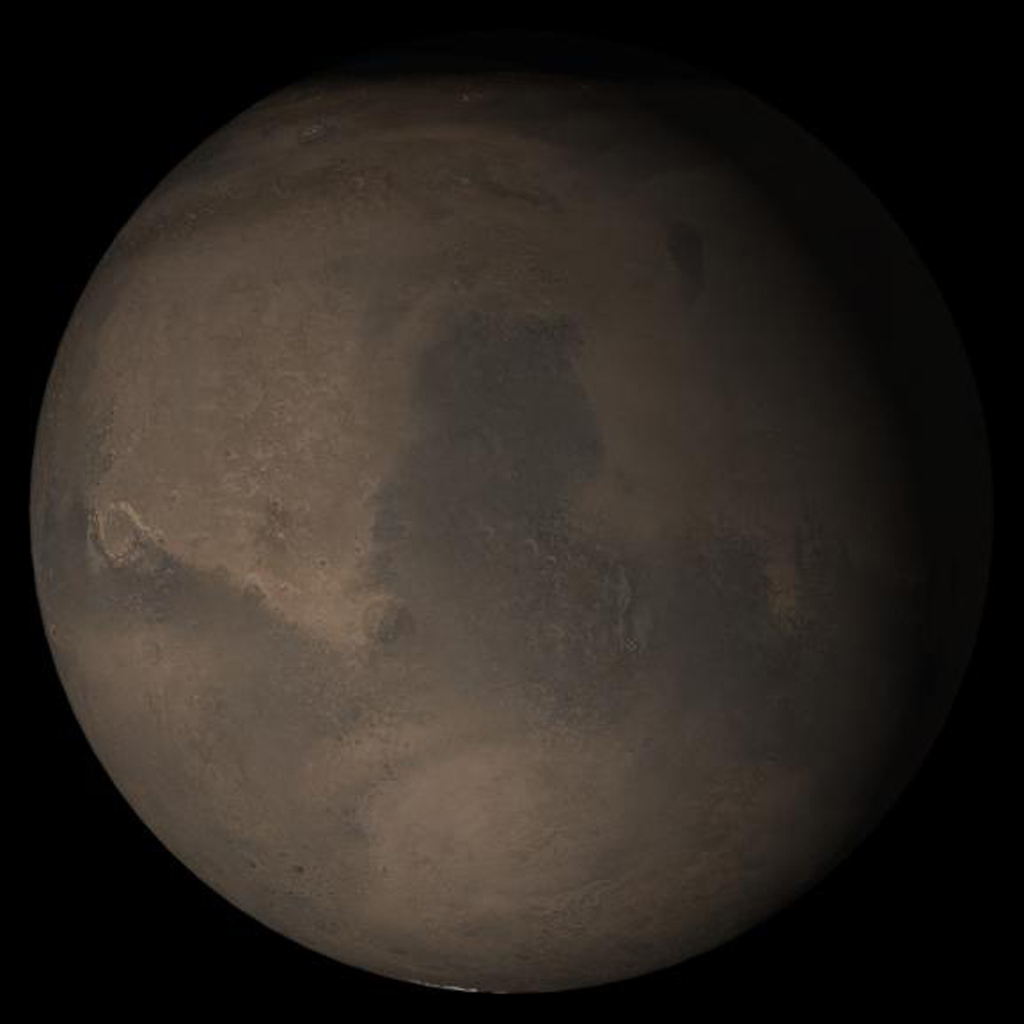 This picture is a composite from NASA's Mars Global Surveyor of daily global images acquired Sept. 2005, at Ls 288° during a previous Mars year. The picture shows the Syrtis Major face of Mars.