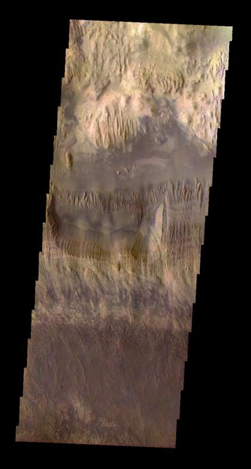 This true-color image in hues of reddish-brown released on June 9, 2004 from NASA's 2001 Mars Odyssey shows the area of Hebes Mensa on Mars.