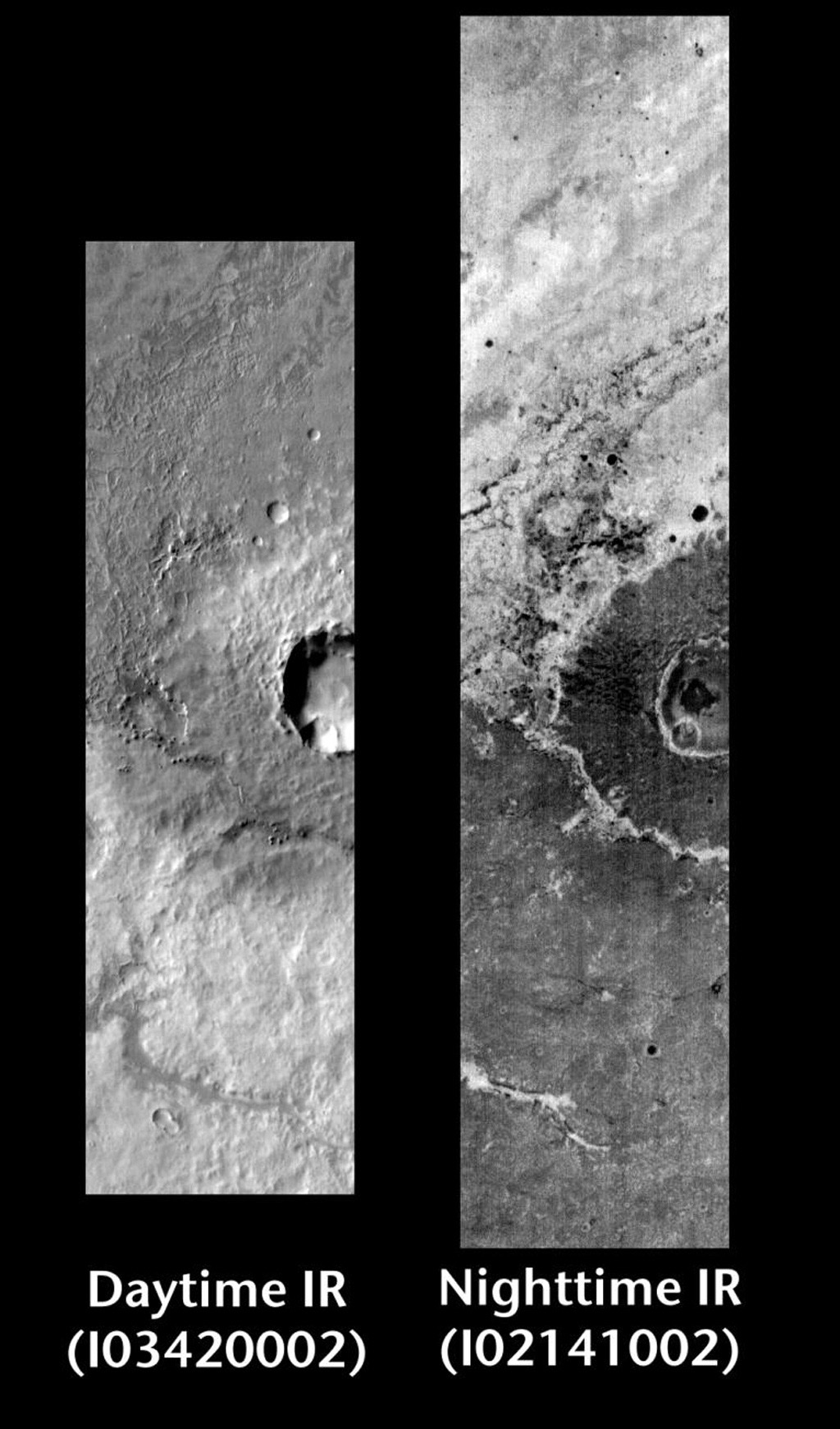 This pair of images released on June 14, 2004 from NASA's 2001 Mars Odyssey shows a comparison of daytime and nighttime of crater ejecta in the Terra Meridiani region on Mars.