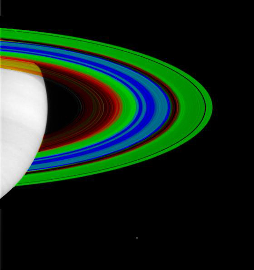 The varying temperatures of Saturn's rings are depicted here in this false-color image from NASA's Cassini spacecraft.