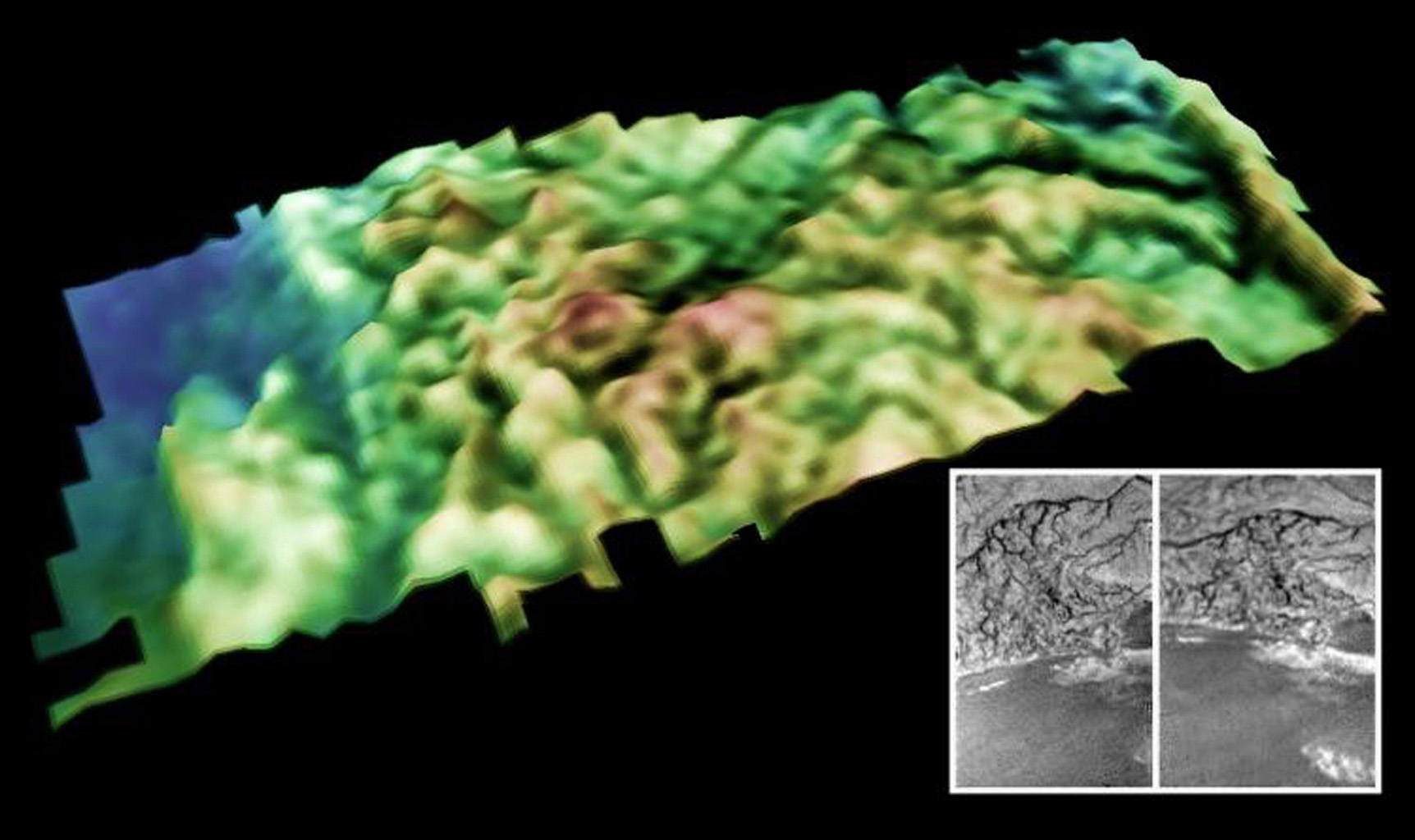 This is a perspective view of the surface of Saturn's moon Titan near the Huygens probe landing site that includes the bright-dark boundary between the bright highlands and lower dark plains.