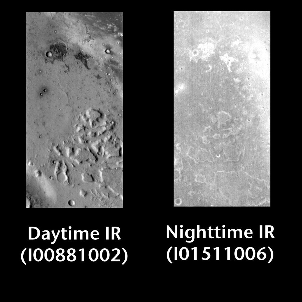 This pair of images released on June 23, 2004 from NASA's 2001 Mars Odyssey shows a comparison of daytime and nighttime of part of Gusev Crater on Mars.