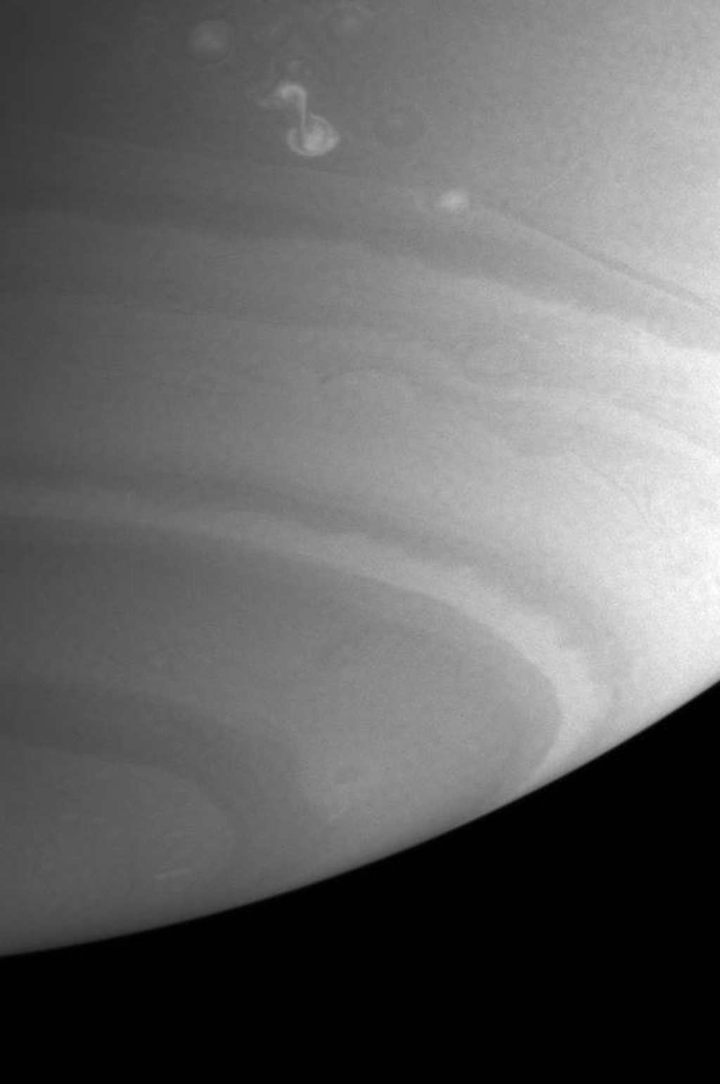 This image from NASA's Cassini spacecraft shows a bright storm that appeared in mid-September at the latitude of one of the rare westward jets on Saturn.
