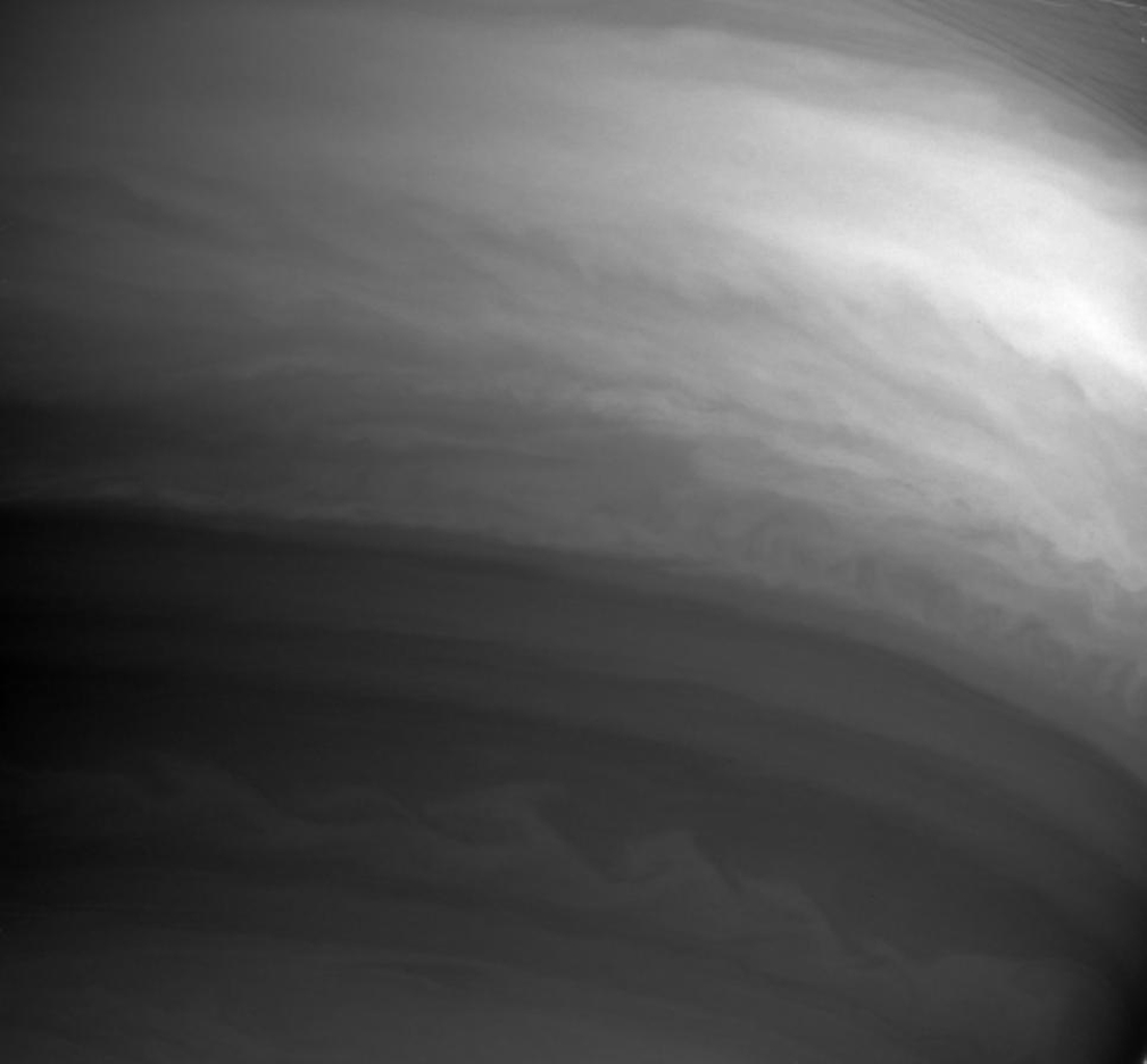 This image captured by NASA's Cassini spacecraft shows details in the swirling clouds of Saturn's southern hemisphere.