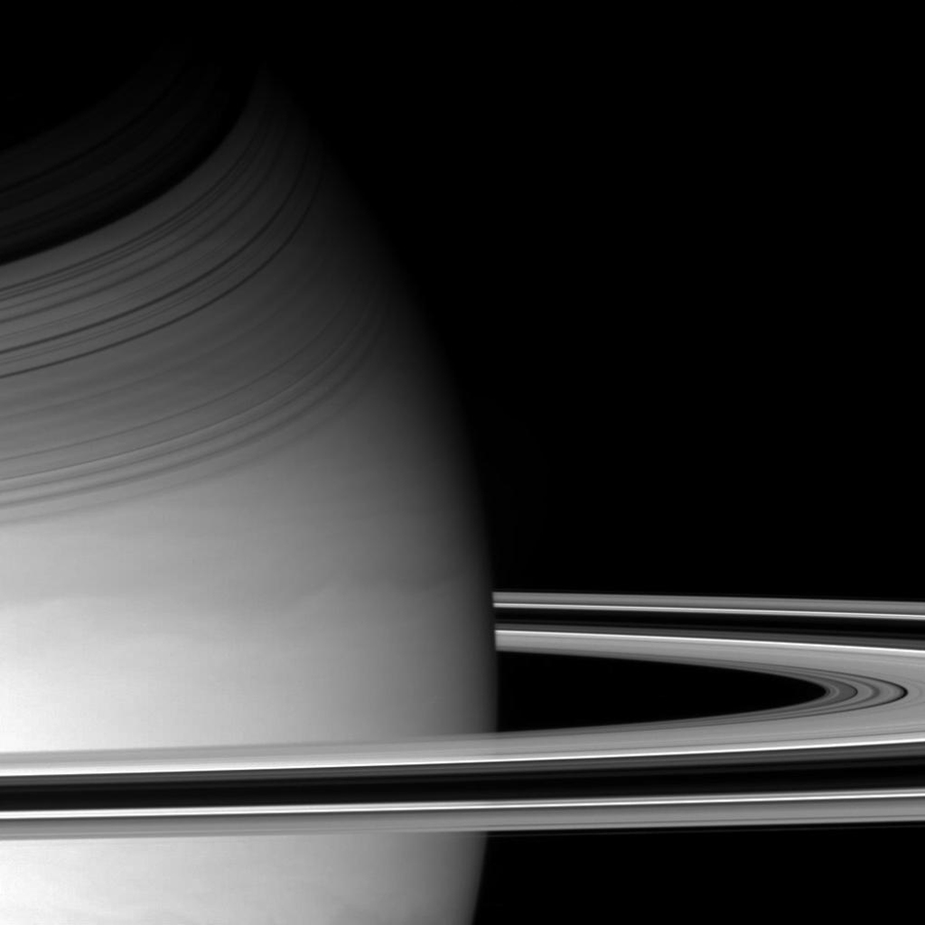 NASA's Cassini spacecraft pierced Saturn's ring plane on Dec. 14, 2004, and swiped this sidelong glance at the planet and its magnificent rings.
