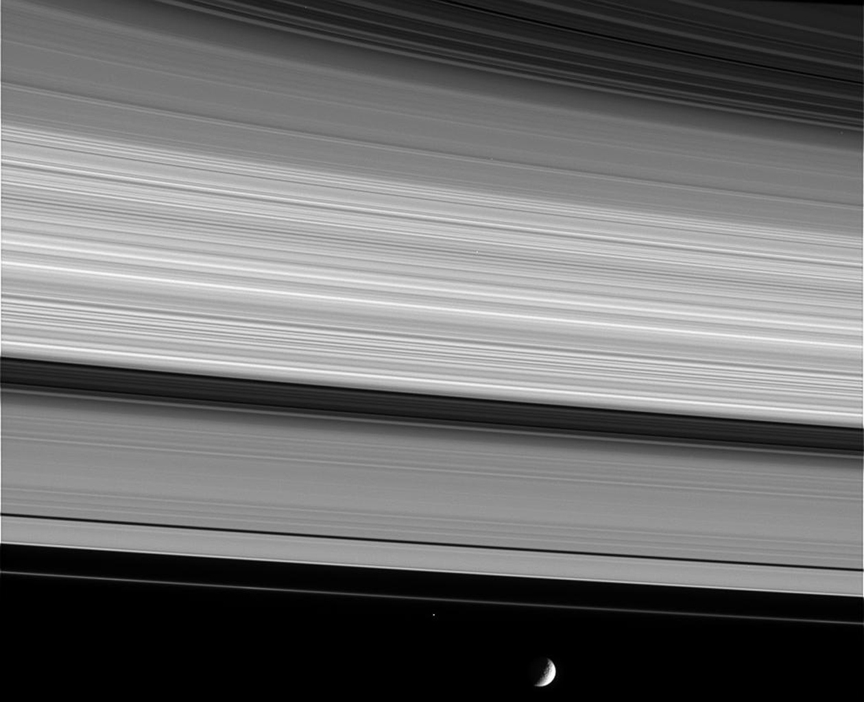 This image captured by NASA's Cassini spacecraft shows, from upper right to lower left, the thin C ring, multi-toned B ring, the dark Cassini Division, the A ring and narrow F ring.