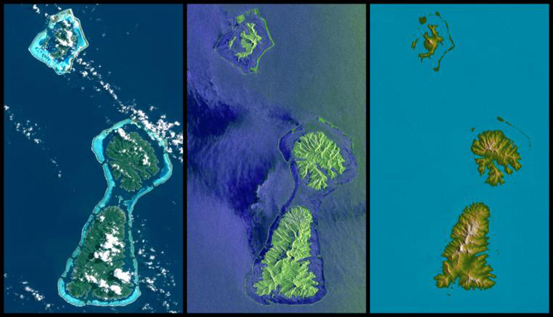 Bora Bora, Tahaa, and Raiatea (top to bottom) are Polynesian Islands about 220 kilometers (135 miles) west-northwest of Tahiti in the South Pacific. This image from NASA's Shuttle Radar Topography Mission.