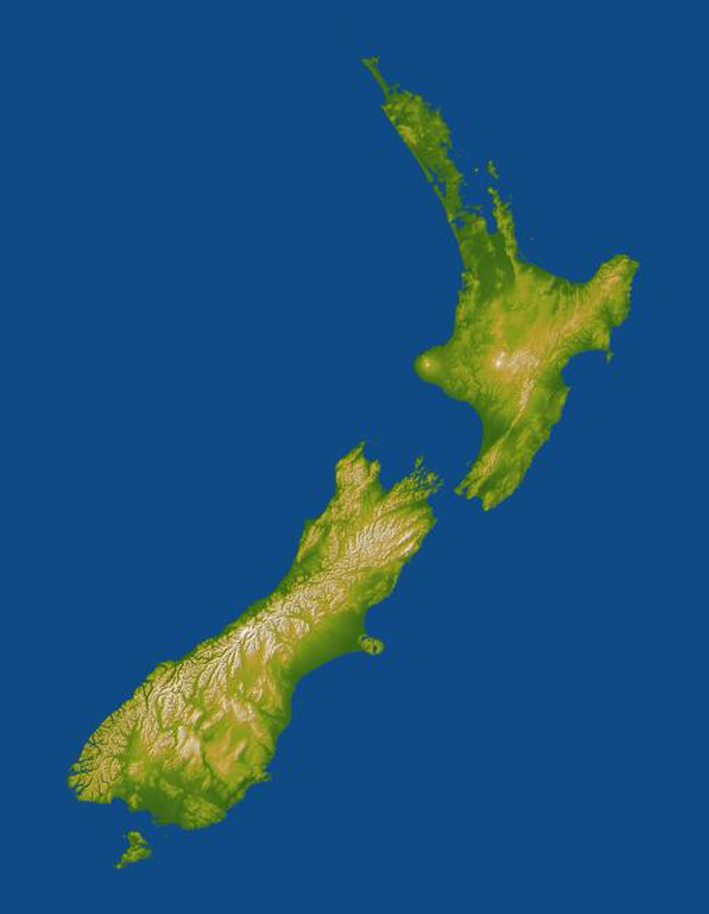 New Zealand straddles the juncture of the Indo-Australian and Pacific tectonic plates, two of Earth's major crustal plates in this image from NASA's Shuttle Radar Topography Mission.