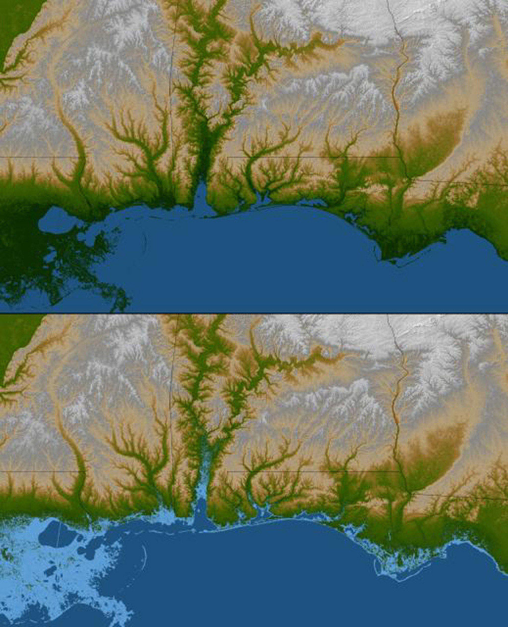 The topography of the Gulf Coast states is well shown in this color-coded shaded relief map generated with data from NASA's Shuttle Radar Topography Mission.